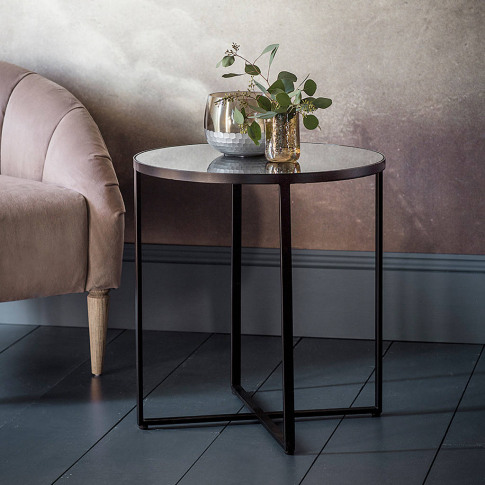 Black Metal Side Table With Mirror Top