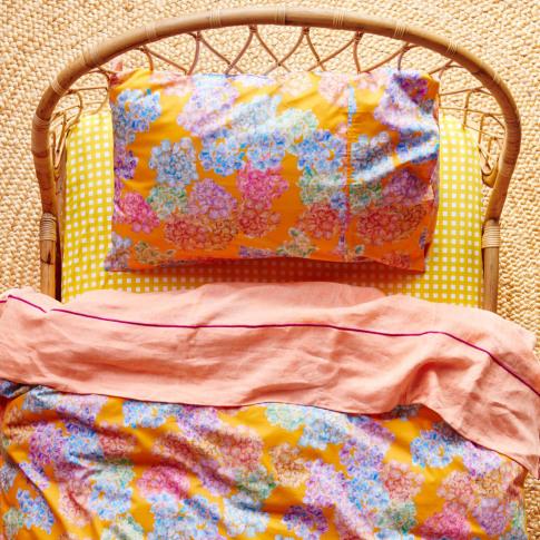 Hydrangeas Mango Single Duvet Cover