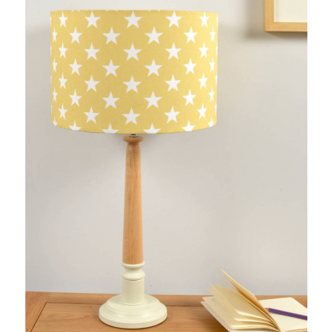 Yellow Stars Wooden Table Lamp
