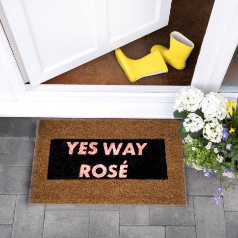 Pink Glitter Yes Way Rose Doormat