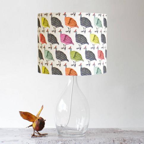 Colourful Guinea Fowl Handmade Stand Lampshade