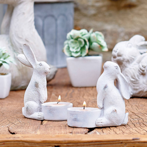 Pair Of Bunny Tealight Holders