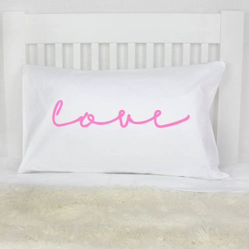 'Love' Neon Sign Pillow Case