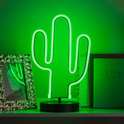 Battery Neon Cactus Table Light