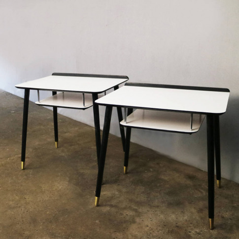1960's Mid Century White And Black Bedside Tables