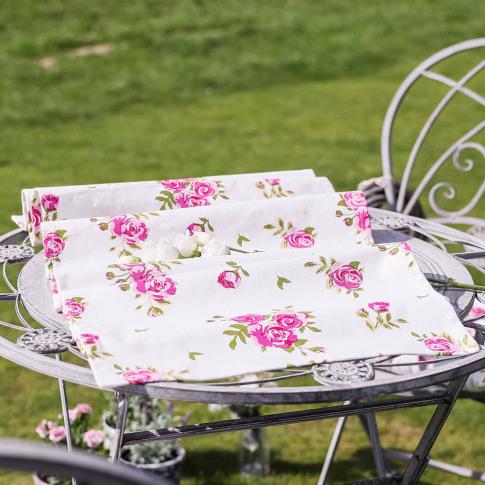 Luxury Alfresco Cotton Rose Table Runner