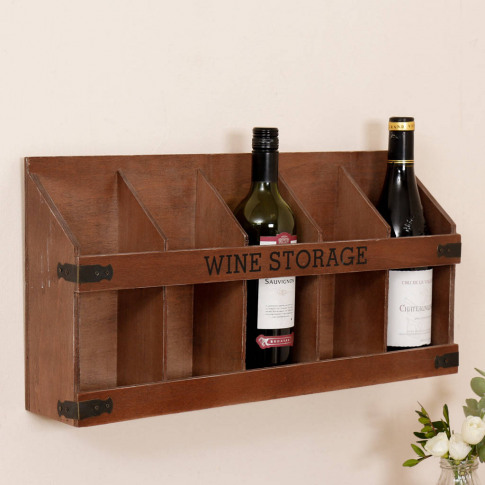 Chateau Vintage Wooden Wall Mounted Wine Rack