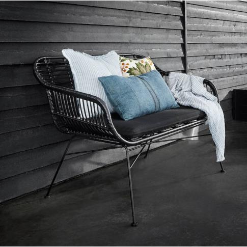 Black Rattan Garden Bench