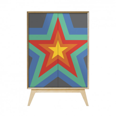 'Rainbow Starburst' Shelved Cabinet