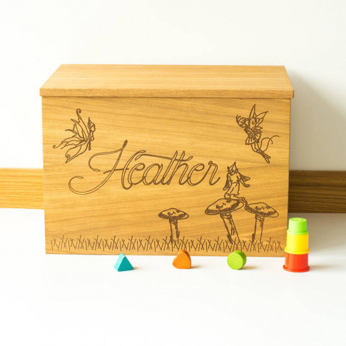 Personalised Fairies Wooden Toy Box