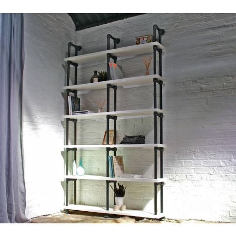 Sean Reclaimed White Painted Scaffolding Bookcase