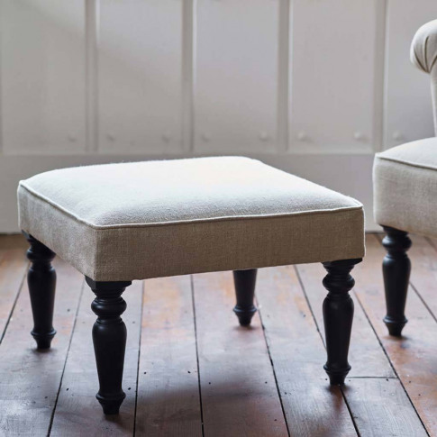 Clandon Linen Square Footstool