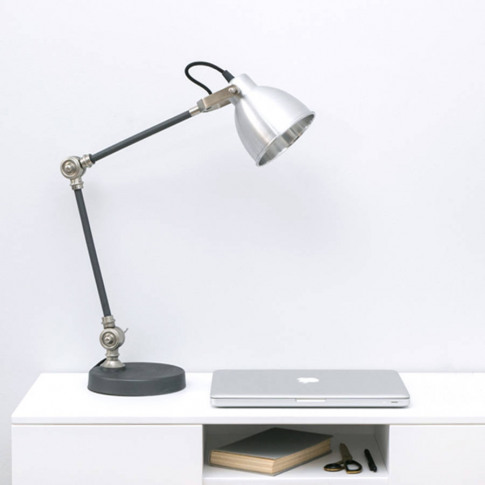 Industrial Style Silver And Black Desk Lamp
