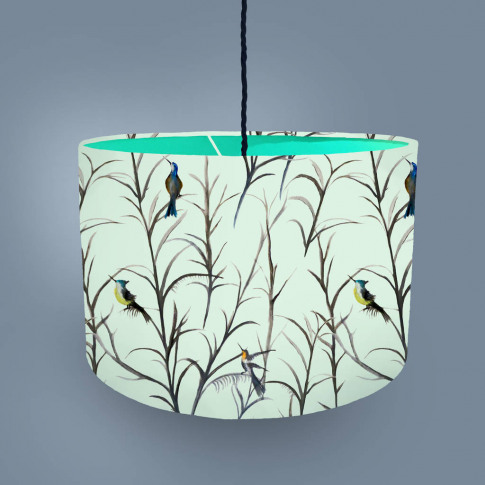 Watercolour Bird Lampshade Mint Green