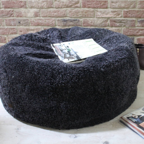 Grey Curly Sheepskin Bean Bag Two Sizes