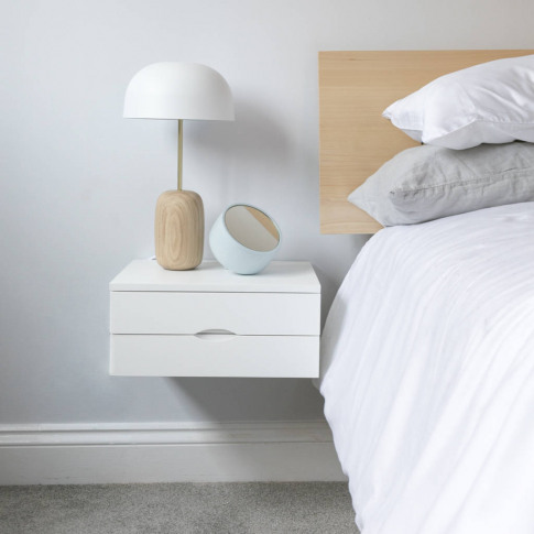 Floating Bedside Table With Double Drawer