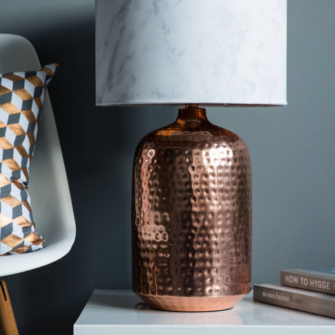 Copper Hammered Pot Table Lamp Base