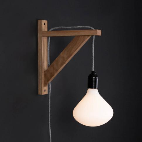 Hebden Oak Wall Bracket Beside Lamp Wall Light