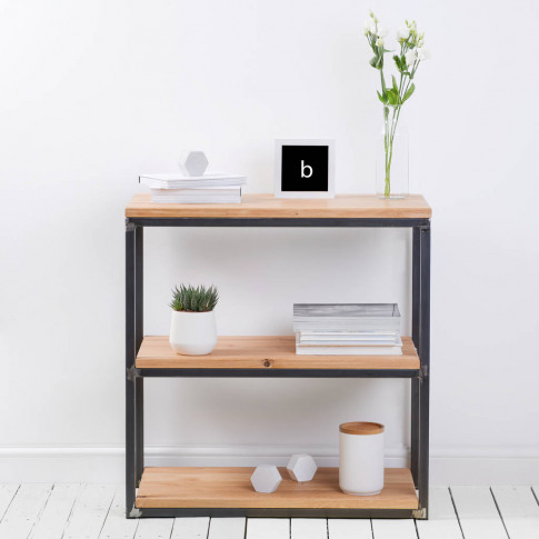 Character Oak Industrial Style Bookcase