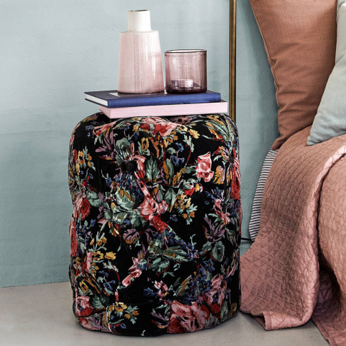 Velvet Pouffe With Buttons In Floral Pattern