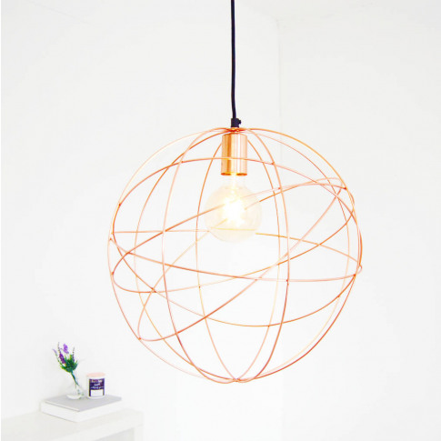 Rose Gold Copper Globe Ceiling Pendant Light Chandelier