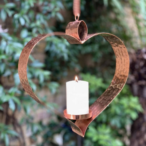 Copper Heart Hanging Candle Holder