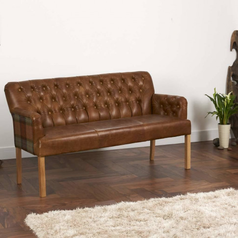 Vintage Leather Curved Arm Sofa Bench Choice Of Sizes