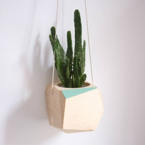 Geometric Wooden Hanging Planter