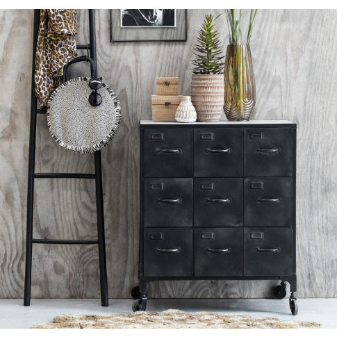 Black Mango Wood Chest Of Drawers