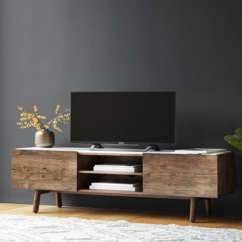 Wood And Marble Media Cabinet