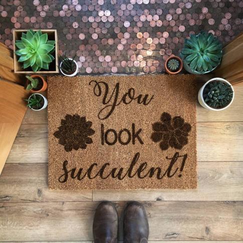 You Look Succulent! Doormat