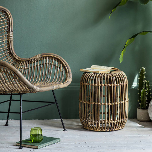 Round Rattan Side Tables Two Sizes