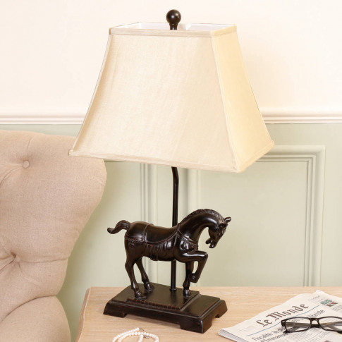 Elegant Equestrian Horse Resin Table Lamp With Shade