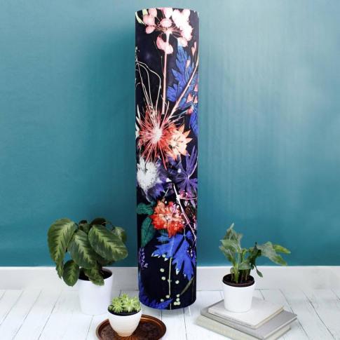 Deep Blue With Bright Botanicals Meter High Floor Lamp