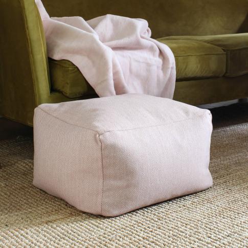 Square Blush Pink Wool Pouffe