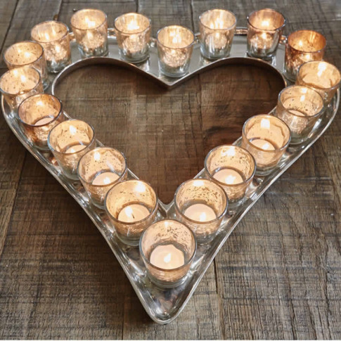 Distressed Silver Glass Heart Votive Tray