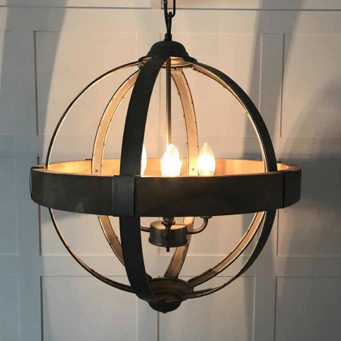Autoire Round Wood Band Metal Four Arm Orb Chandelier