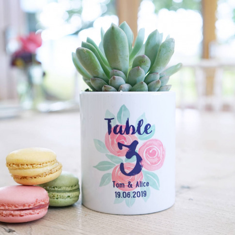 Personalised Rose Wedding Table Number Plant Pot
