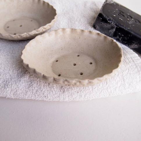 Handmade Oval Oatmeal Stoneware Pottery Soap Dish