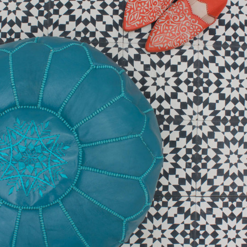 Moroccan Coloured Leather Pouffe