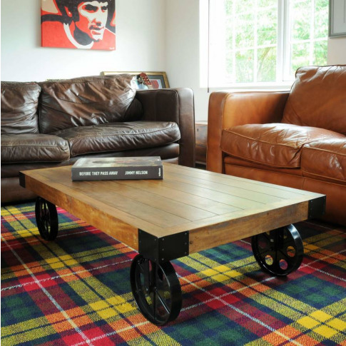 Industrial Vintage Coffee Table With Wheels