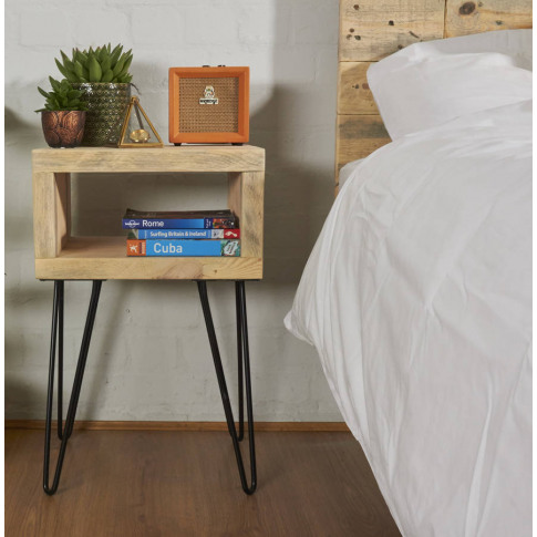 Reclaimed Scaffold Bed Side Table Hairpin Legs