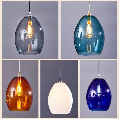 Large Coloured Glass Bertie Pendant Light