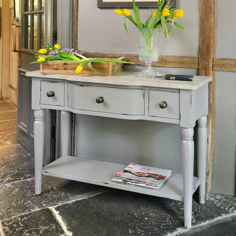 Warwickshire Three Drawer Console Table Grey Or Ivory