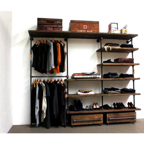 Max Reclaimed Wood And Steel Wardrobe System