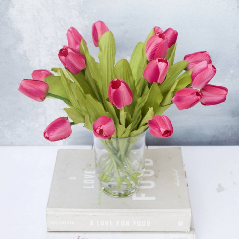 Everlasting Mid Pink Tulip Bouquet In Vase