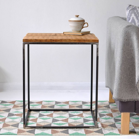 Oxford Wood And Steel Side Table