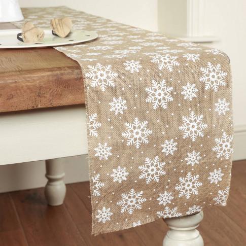 Christmas Crafts Jute Snowflake Table Runner