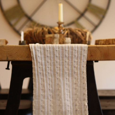 White Knitted Table Runner 3m