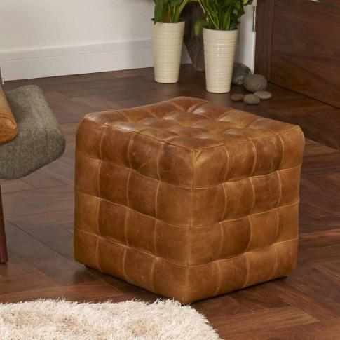 Vintage Leather Cube Footstool